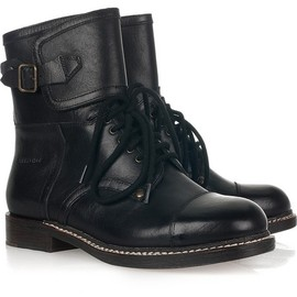 SEE BY CHLOE - black leather lace-up boots