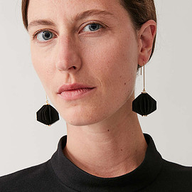 COS - LAYERED FABRIC DROP EARRINGS in black