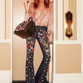alice + olivia - alice + olivia Ryley Embellished Low Rise Bell Jeans