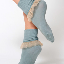 American Apparel - Girly Lace Ankle Sock (Sea Green/Nude)