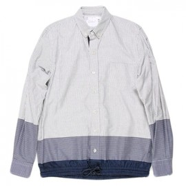 sacai - DRAWSTRING STRIPE SHIRTS/NAVY