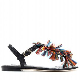 DOLCE&GABBANA - LEATHER SANDALS WITH MULTICOLOURED TASSELS