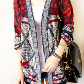 fashion - [grxjy560400]Retro Pop Style Loose Fitting Mixing Color Women's Knit Cardigan