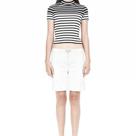 T by Alexander Wang - COMPACT COTTON ENGINEERED RIB CROPPED TEE