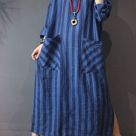 linen kaftan - Blue maxi dress, linen maxi dress, cotton dress long, linen kaftan Oversize dress