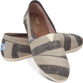 TOMS - Beige & Navy Stripes Women's Classics