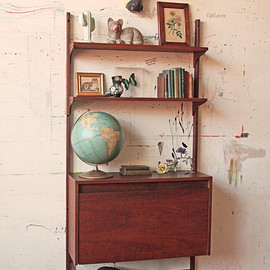 unknown - Mid Century Wall Unit Shelving Bar with Light