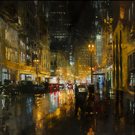 Jeremy Mann - CITYSCAPES /  Post Street Downpour