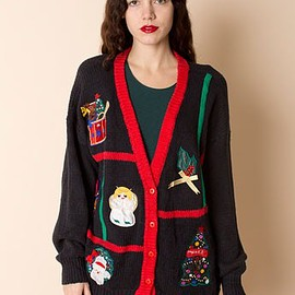 American Apparel - Vintage Satin Appliques Knit Christmas Cardigan