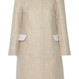 CARVEN - Seersucker cotton-trimmed linen coat