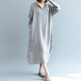 Women large size Dresses - Linen dress, Women large size Dresses, with pockets dress, Women Shirt dress, Women gown