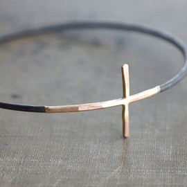 SDMarieJewelry - Gold Cross Sideways with Black Sterling Silver Bangle Bracelet