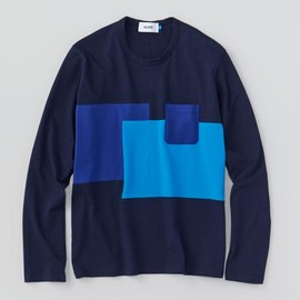 ALOYE - Patchwork - Color Block L/S T-shirt (Navy-Blue)