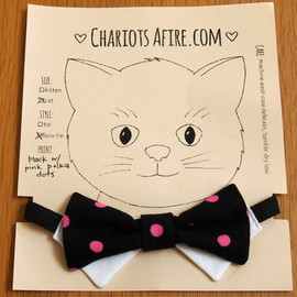 ChariotAfire - Bow Tie Cat Collar by ChariotAfire (Black w/ Pink Dot)