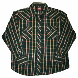 VINTAGE - Vintage 90s Wrangler Green Pearl Snap Plaid Button Up Shirt Mens Size XL