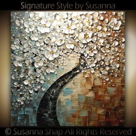 Susanna - ORIGINAL Huge White Cherry Blossom Painting Modern Oil Painting Single Tree Landscape Gallery Fine Art