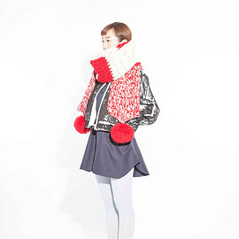 POURTON DE MOI - HAND-KNITED  BIG SCARF  RED