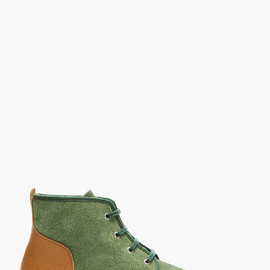 JUNYA WATANABE - Green & Cognac Lace-Up Ankle Boots