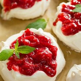 Cream Cheese Whipped Cream and Raspberry Sauce