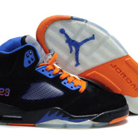 Retro Nike Jordan 5 Womens Suede Shoes Black and Orange and Blue
