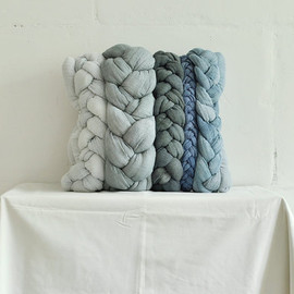 taftyli - Grey blue denim plait pillowcase dyed decorative