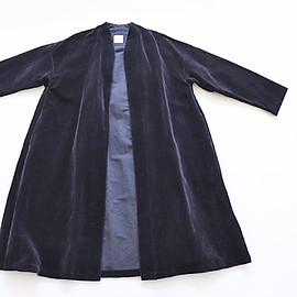 TOUJOURS - Inverted Pleat Robe Coat - WASHED C/L VELVET CLOTH