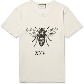 GUCCI - Distressed Printed Slub Linen T-Shirt