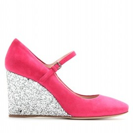miu miu - SUEDE MARY-JANE WEDGES