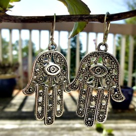 Large Fatima Hamsa Hand pewter earrings, dangle, silver jewelry, Gypsy earrings hand Fatima Hamsa earrings Boho Jewelry