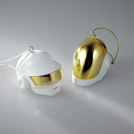 DAFT PUNK - DAFT PUNK LIMITED EDITION WHITE & GOLD ROBOT HELMET ORNAMENT SET
