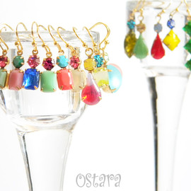 Dangling Hoop Earrings with Red corlal and Pale Green Pearl
