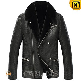 cwmalls - Denver Black Embossed Shearling Jackets CW857236