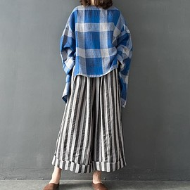 Linen Oversize shirt, asymmetric large size plaid t-shirt, women pullover