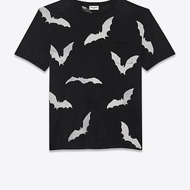 SAINT LAURENT - T-shirt with faded bat print,