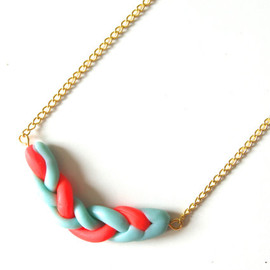 JessiesStudio - neon and mint knot necklace, made with polymer clay, statement jewelry