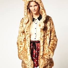 ASOS - Faux Fur Leopard Hooded Coat With Ears