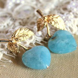 PETITE DELIGHTS - Blue Aquaqurts hearts earrings