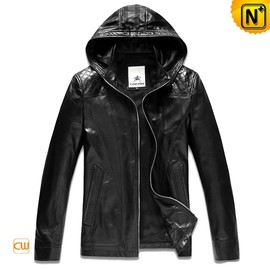 CWMALLS - Mens Hooded Leather Jacket Black CW866101