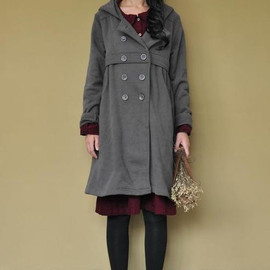 Cotton hood double breasted button cloak coat