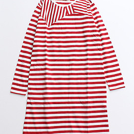 Dot and Stripes CHILD WOMAN - 40/2ボーダー天竺 リボン ワンピース