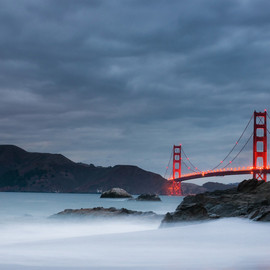 California, U.S. - Golden Gate Bridge In A Storm