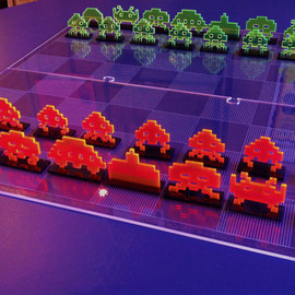 Space Invader chess set laser cut acrylic ready to play