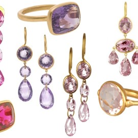 Marie-Helene de Taillac - pink & purple stones, earrings & rings