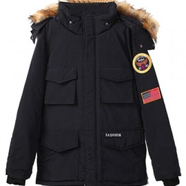 Black Hooded Parka Coat With Patch