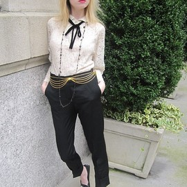 SEE BY CHLOE - Vintage Raynas Blouse, See By Chloé Pants, Tods Loafers, Vintage Belt, Vintage Necklace, Milly Cami