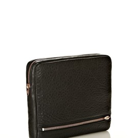 ALEXANDER WANG - FUMO IPAD CASE IN BLACK PEBBLE LEATHER WITH ROSEGOLD