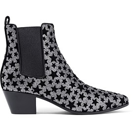 Saint Laurent - Rock flocked glittered leather ankle boots