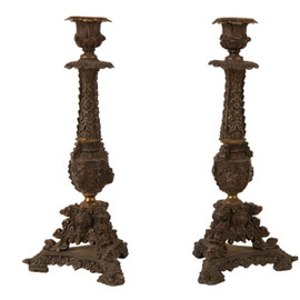 JAYSON HOME - ANTIQUE FRENCH CANDLESTICKS
