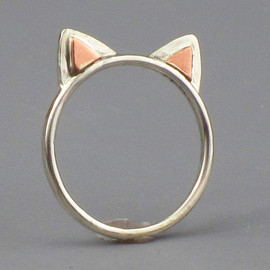 Kitty Cat Ears Ring Sterling Silver