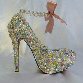 Cinderella's Wish with pastel touches and jewelled ankle strap with bow
